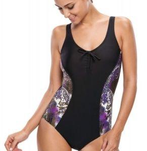 Tankini Design Print Side One-piece Swimwear,